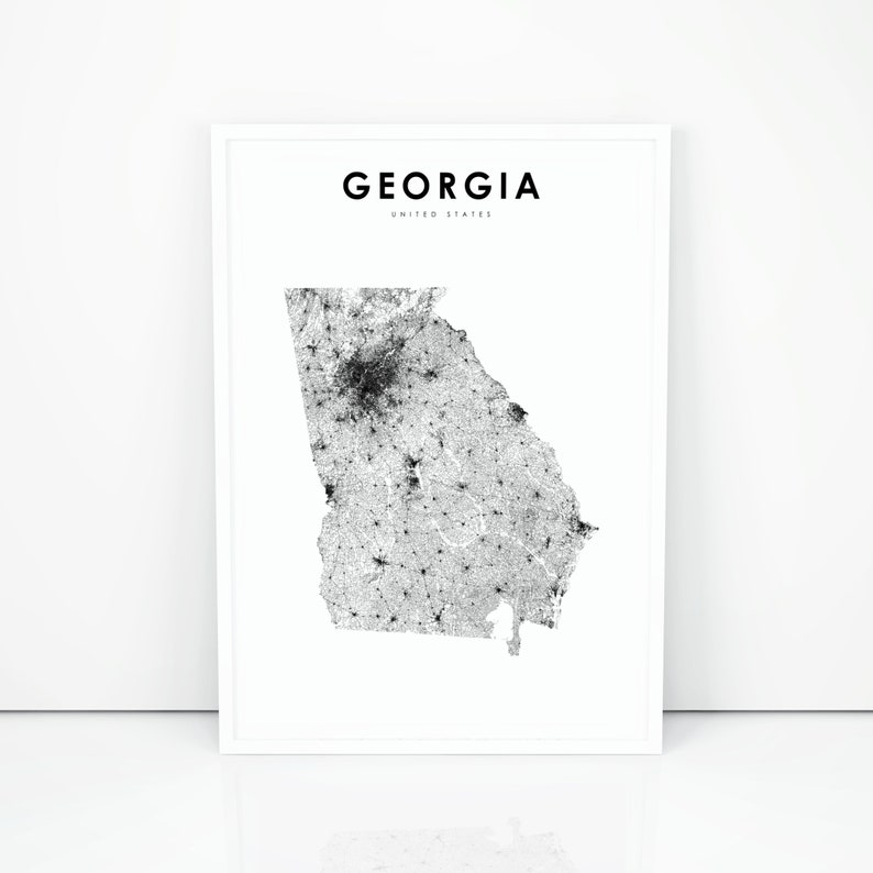 State Of Georgia Road Map.Georgia Map Print State Road Map Print Ga Usa United States Etsy