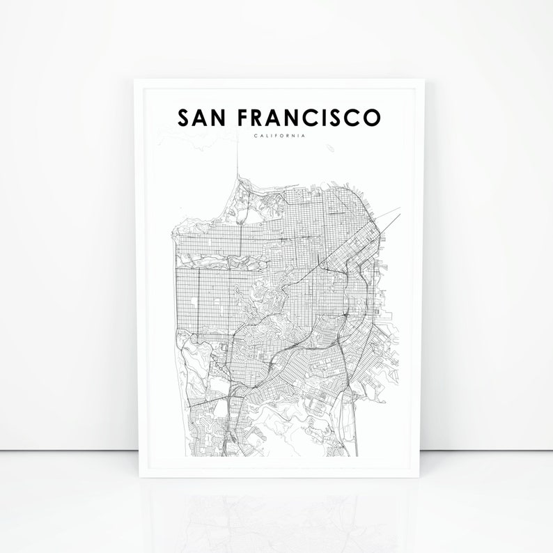 graphic about San Francisco Maps Printable identified as San Francisco Map Print, California CA United states Map Artwork Poster, Metropolis Road Street Map Print, Nursery House Wall Office environment Decor, Printable Map