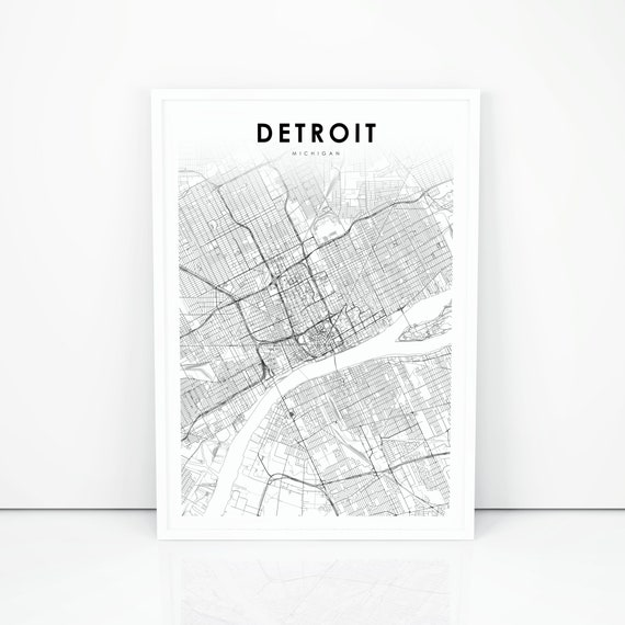 Detroit Map Print, Michigan MI USA Map Art Poster, City Street Road Map  Print, Nursery Room Wall Office Decor, Printable Map