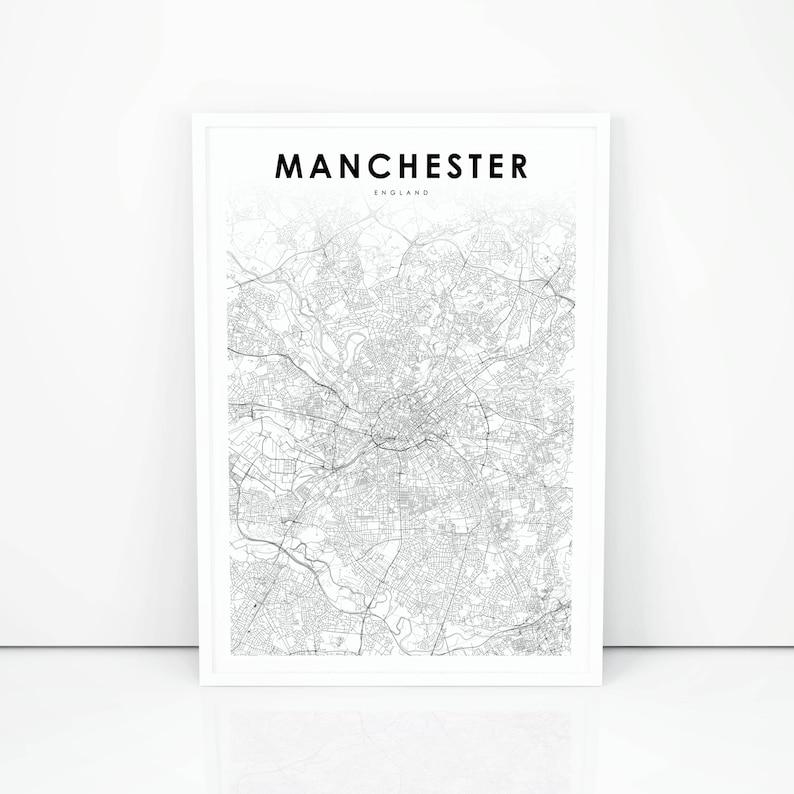 Manchester Map Print England United Kingdom UK Map Art | Etsy