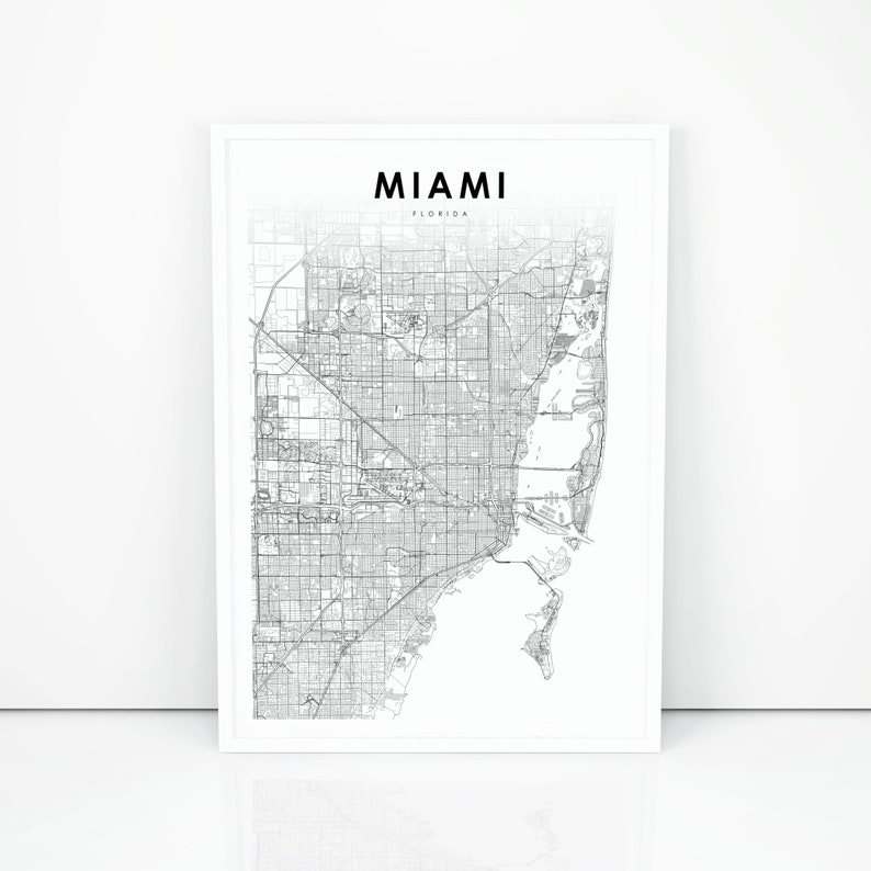 Florida In Usa Map.Miami Area Map Print Florida Fl Usa Map Art Poster City Road Street Map Print Nursery Room Wall Office Decor Printable Map