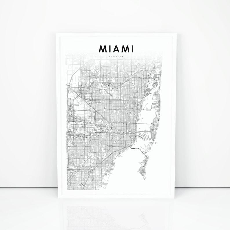Florida In Usa Map.Miami Area Map Print Florida Fl Usa Map Art Poster City Road Street Map Print Nursery Room Wall Office Decor Printable Map