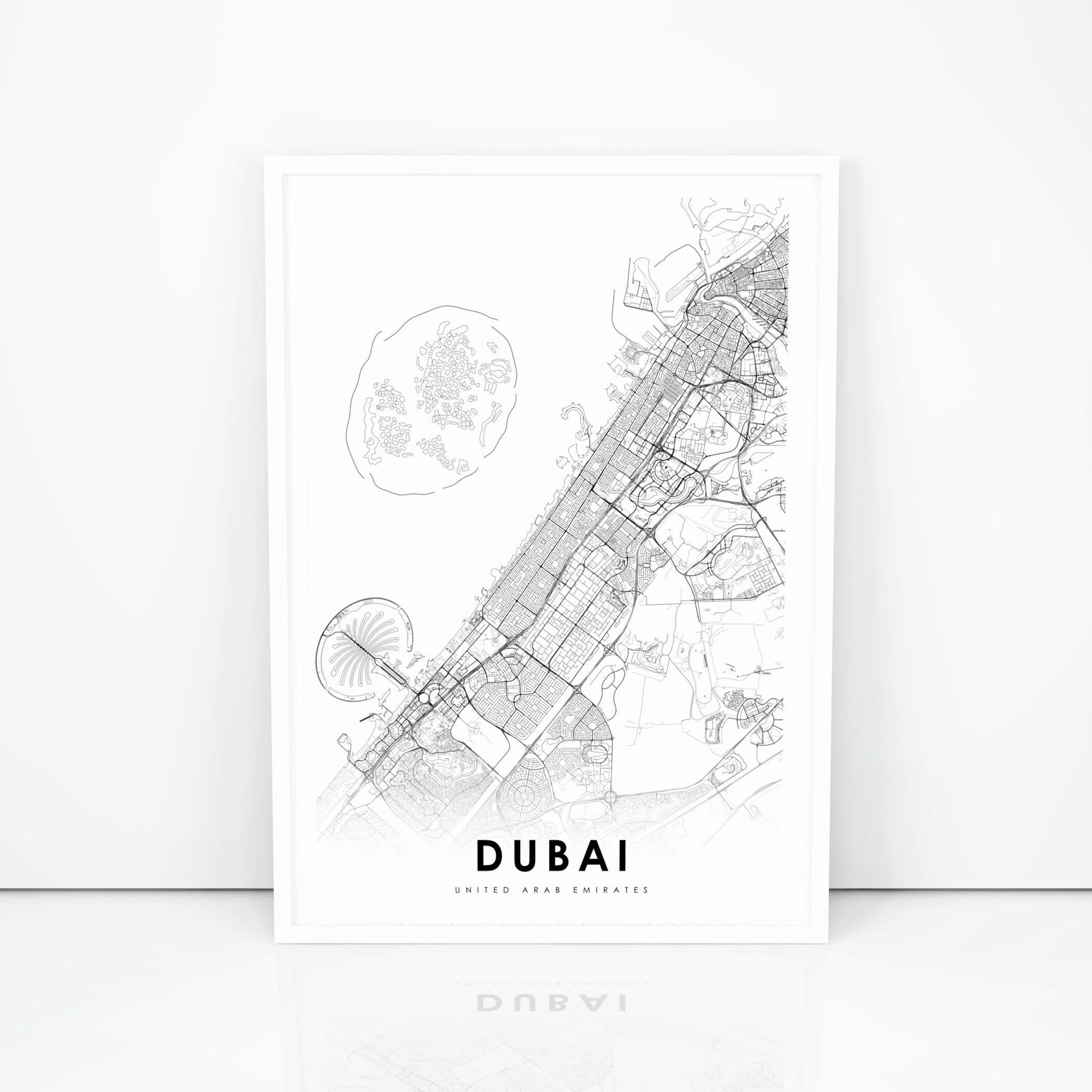 Dubai Map Print United Arab Emirates Map Art Poster دبي | Etsy