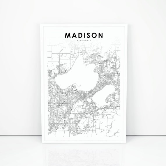 Madison Map Print Wisconsin WI USA Map Art Poster City | Etsy