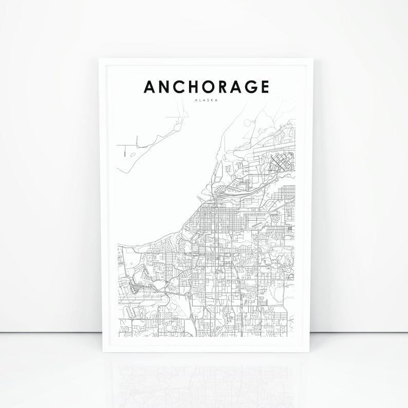 photograph relating to Printable Map of Alaska referred to as Downtown Anchorage Map Print, Alaska AK United states of america Map Artwork Poster, Town Road Highway Map Print, Nursery Area Wall Workplace Decor, Printable Map