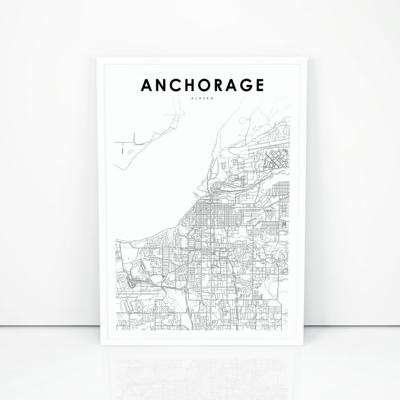 picture relating to Printable Map of Alaska known as Downtown Anchorage Map Print, Alaska AK United states Map Artwork Poster, Town Road Highway Map Print, Nursery House Wall Workplace Decor, Printable Map