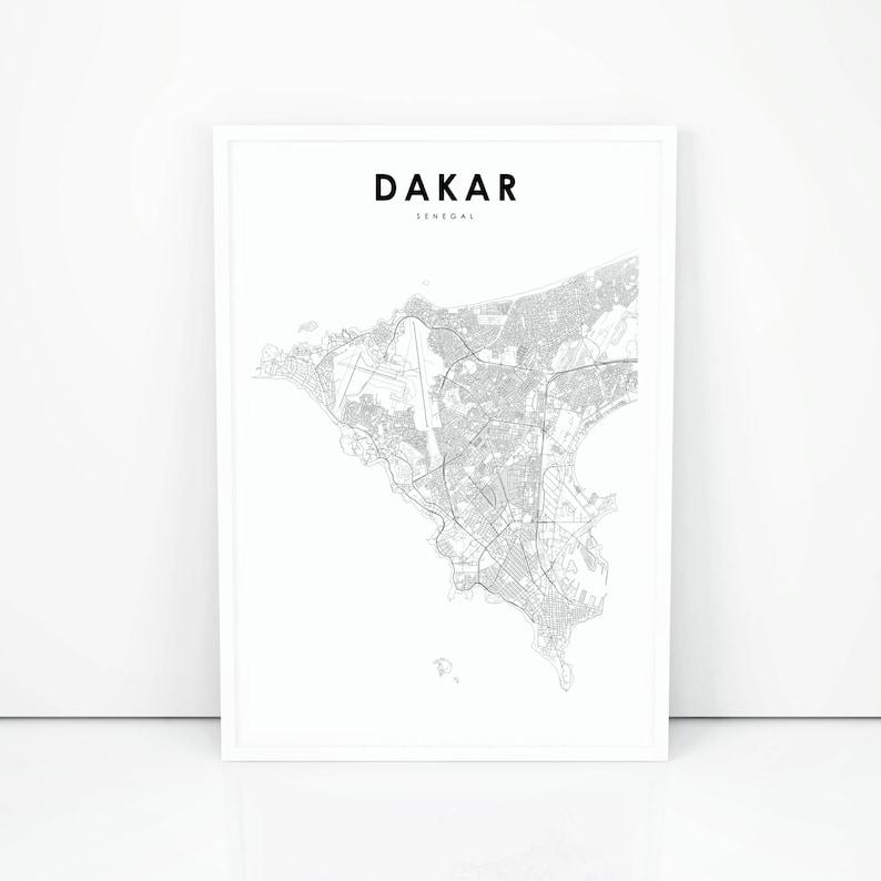 Dakar Map Print Senegal Map Art Poster City Street Road Map | Etsy on