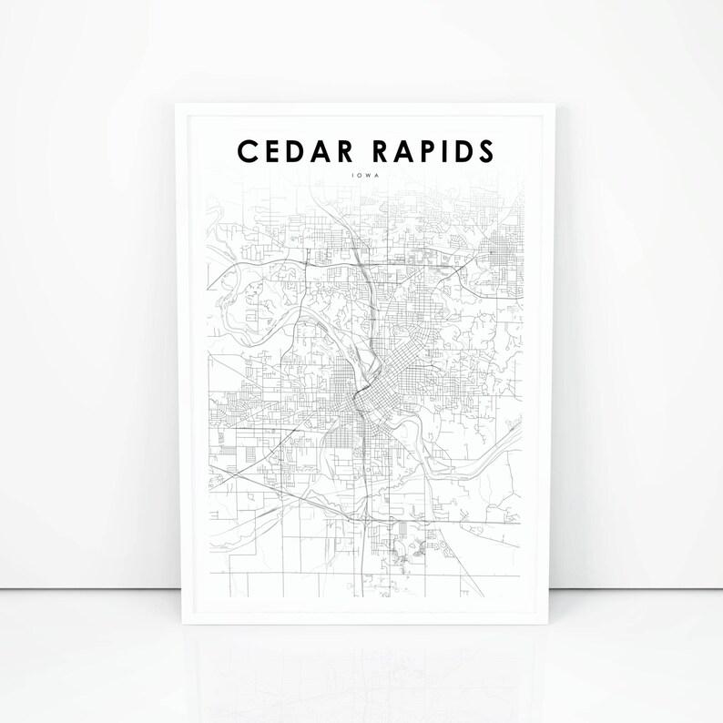 Cedar Rapids Map Print, Iowa IA USA Map Art Poster, City Street Road Map  Print, Nursery Room Wall Office Decor, Printable Map
