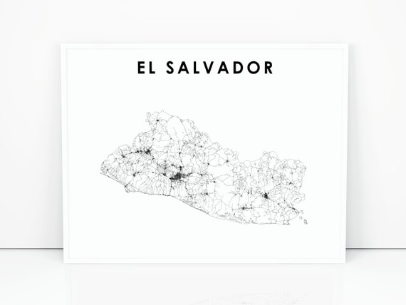 image relating to Printable Map of Central America called El Salvador Map Print, Street Map Artwork Poster, Central The us San Salvador Map Artwork, Nursery House Wall Business office Decor, Printable Map