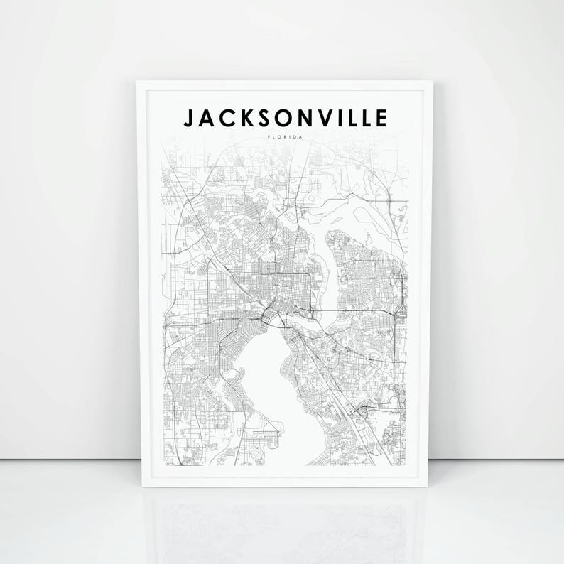 photograph about Printable Map of Jacksonville Fl referred to as Jacksonville Map Print, Florida FL United states Map Artwork Poster, Town Road Street Map Print, Nursery Place Wall Business office Decor, Printable Map