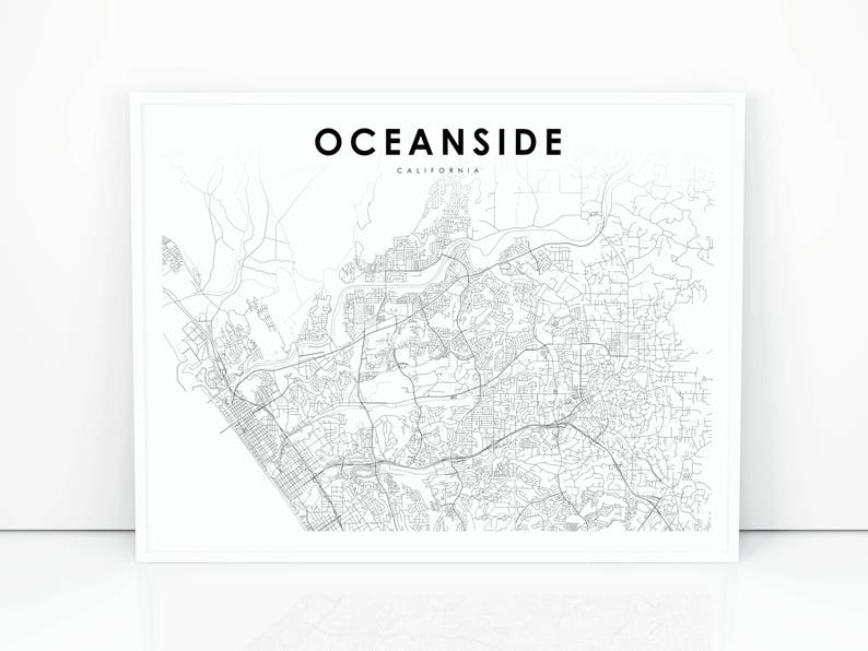 Oceanside Map Print, California CA USA Map Art Poster, City Street Road Map  Print, Nursery Room Wall Office Decor, Printable Map