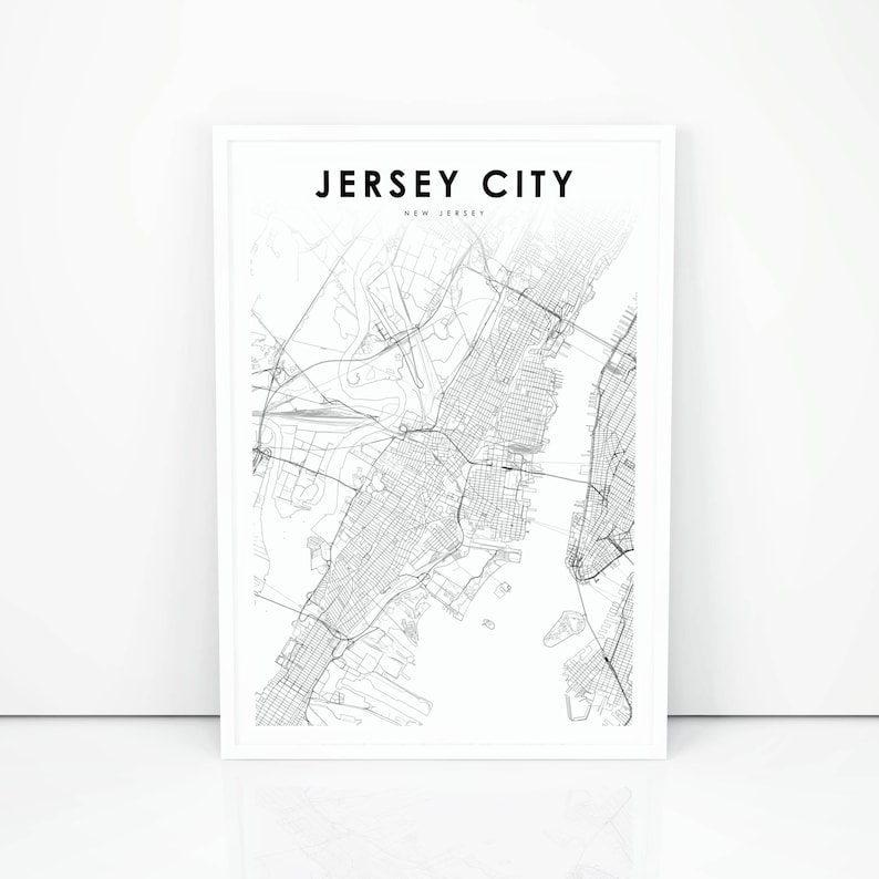 graphic relating to Printable Map of Nj called Jersey Town Map Print, Fresh Jersey NJ United states Map Artwork Poster, Metropolis Highway Highway Map Print, Nursery Place Wall Business Decor, Printable Map