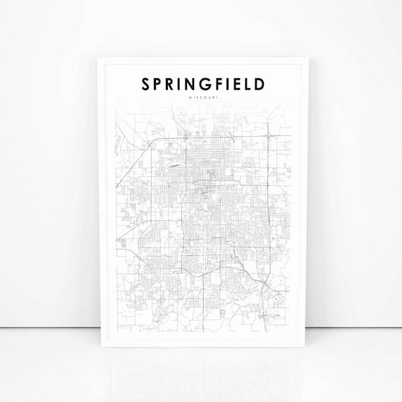 Springfield Map Print Missouri Mo Usa Map Art Poster City Etsy