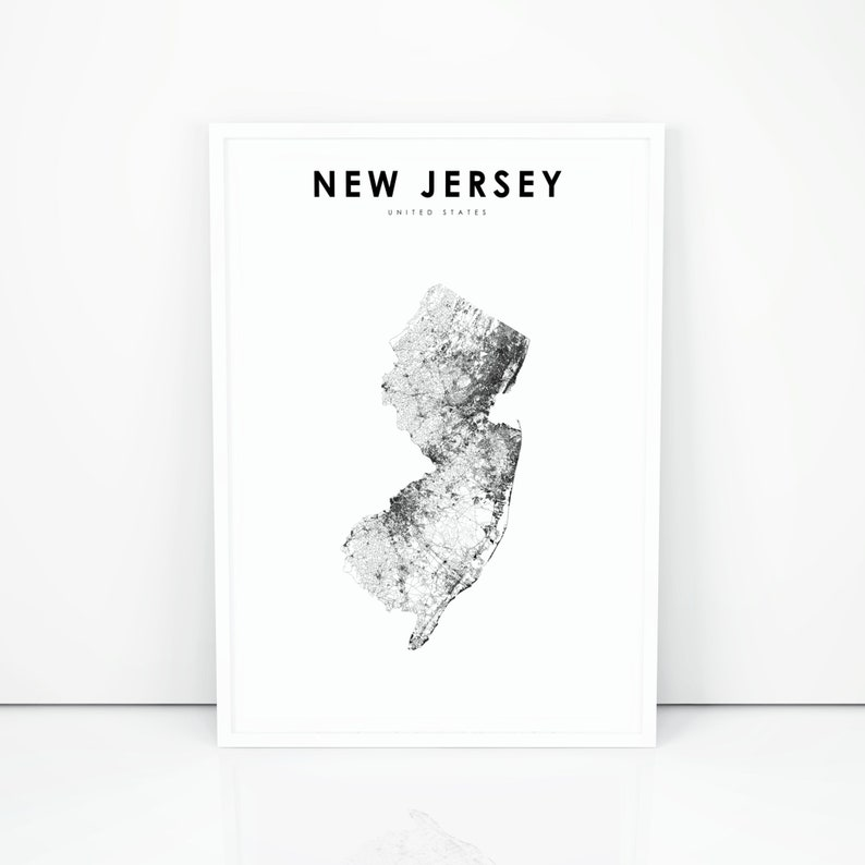 photo relating to Printable Map of Nj identified as Clean Jersey Map Print, Country Highway Map Print, NJ United states of america United Says Map Artwork Poster, Nursery Place Wall Business office Decor, Printable Map
