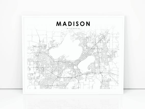 Madison Map Print Wisconsin WI USA Map Art Poster City   Etsy