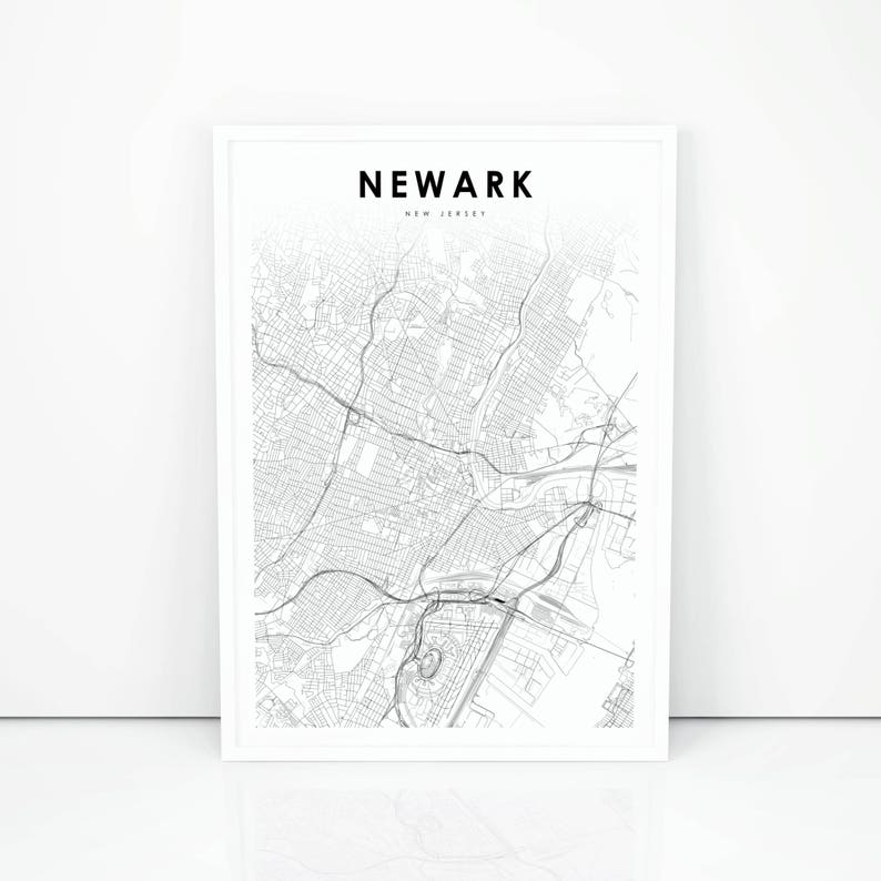 picture regarding Printable Map of Nj identified as Newark Map Print, Fresh Jersey NJ United states of america Map Artwork Poster, Metropolis Highway Street Map Print, Nursery House Wall Workplace Decor, Printable Map