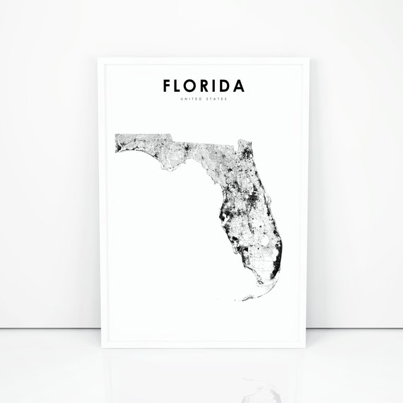 Florida Map Print, State Road Map Print, FL USA United States Map Art  Poster, Nursery Room Wall Office Decor, Printable Map