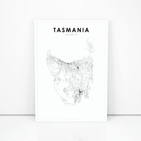 Tasmania Map Print, Road Map Art Poster, Australia Map Art, Nursery Room  Wall Office Decor, Printable Map