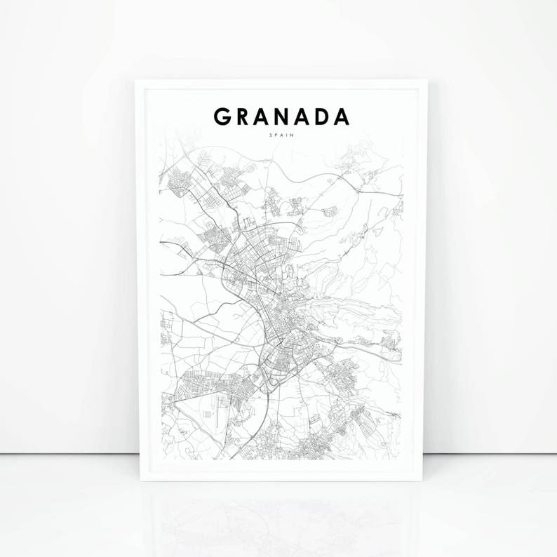 Granada Map Print Spain Map Art Poster City Street Road Map | Etsy on