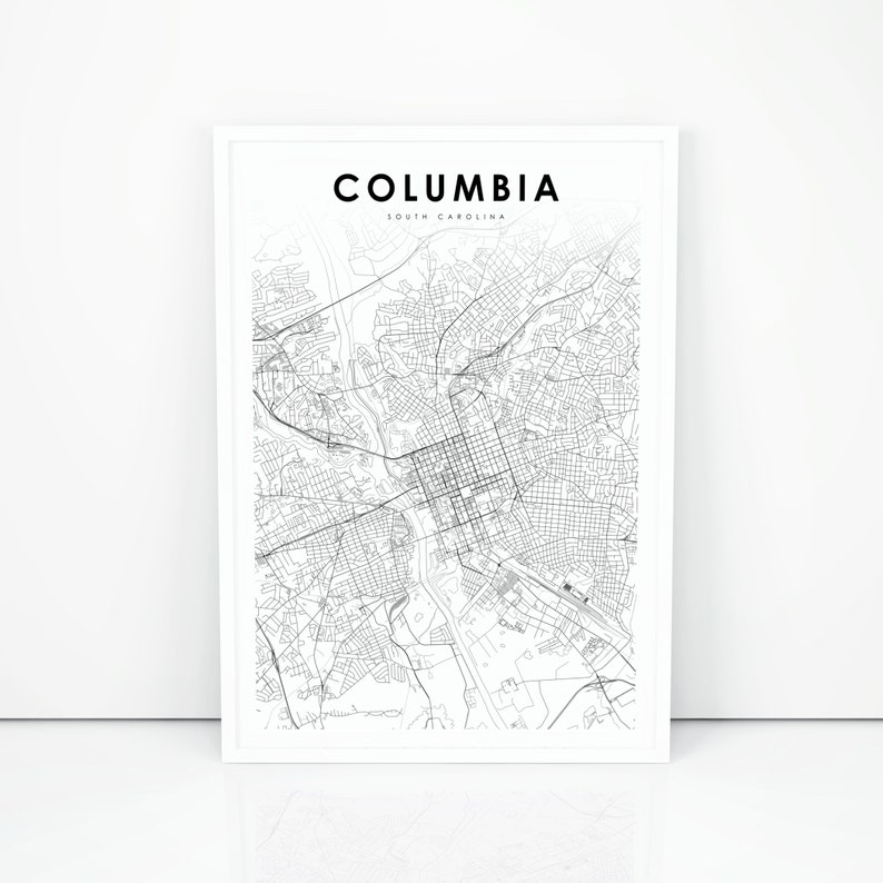 image regarding Printable Map of South Carolina identified as Columbia Map Print, South Carolina SC United states of america Map Artwork Poster, Richland Metropolis Road Street Map Print, Nursery Place Wall Business Decor, Printable Map