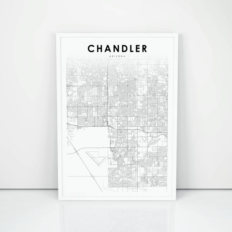 Chandler Map Print Arizona AZ USA Map Art Poster City Street | Etsy