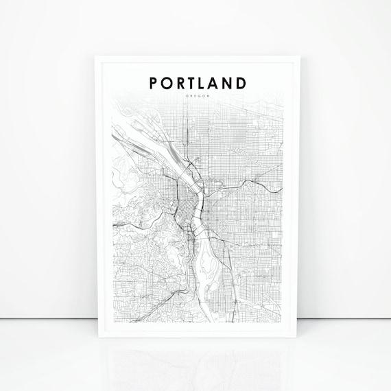Portland Oregon Map Print, OR USA Map Art Poster, City Street Road Map  Print, Nursery Room Wall Office Decor, Printable Map