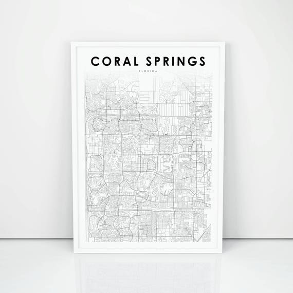 Map Of Florida Showing Coral Springs.Coral Springs Map Print Florida Fl Usa Map Art Poster City Etsy