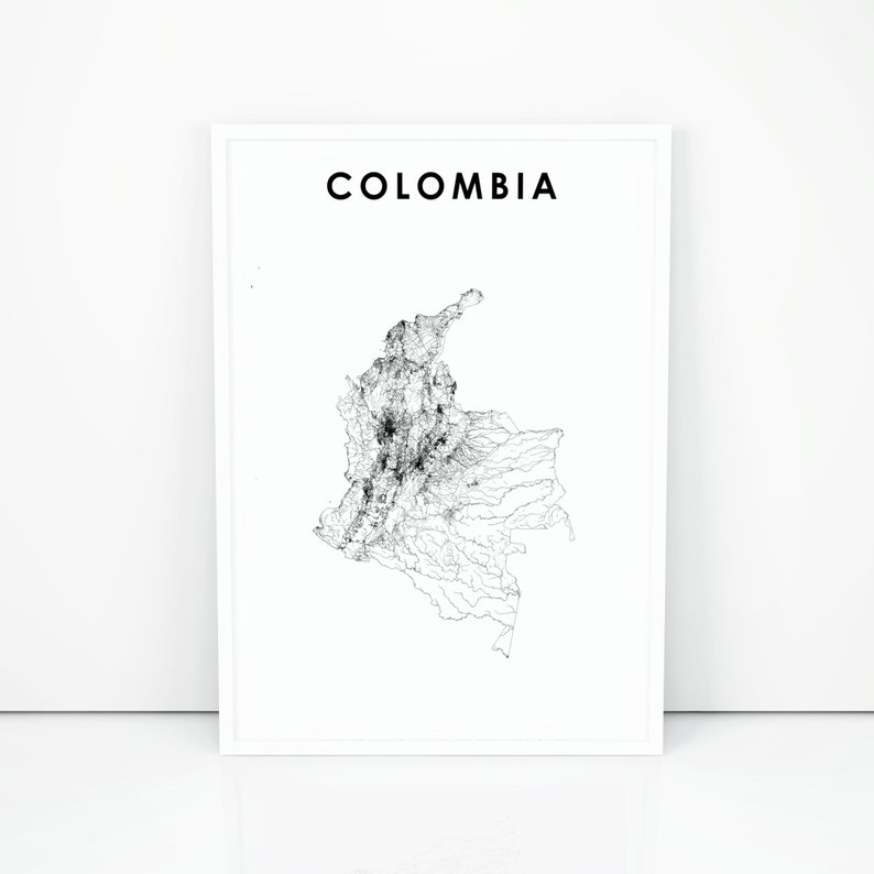 photograph about Printable Map of South America named Colombia Map Print, Street Map Poster, South The us Bogota Bogotá Map Artwork, Nursery Space Wall Place of work Decor, Printable Map