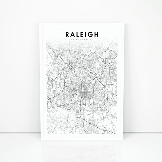 photograph regarding Printable Map of North Carolina referred to as Raleigh Map Print, North Carolina NC United states Map Artwork Poster, Town Road Street Map Print, Nursery Space Wall Office environment Decor, Printable Map