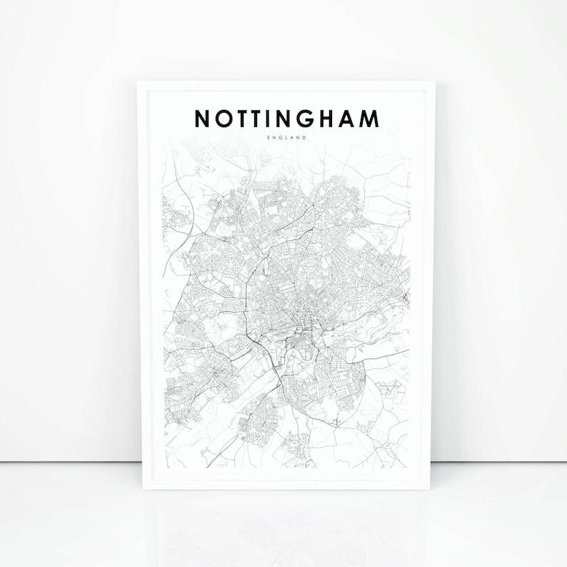 Map Of Uk Nottingham.Nottingham Map Print England United Kingdom Uk Map Art Etsy