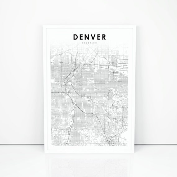 photograph relating to Printable Map of Colorado titled Denver Map Print, Colorado CO United states Map Artwork Poster, Metropolis Highway Street Map Print, Nursery House Wall Office environment Decor, Printable Map