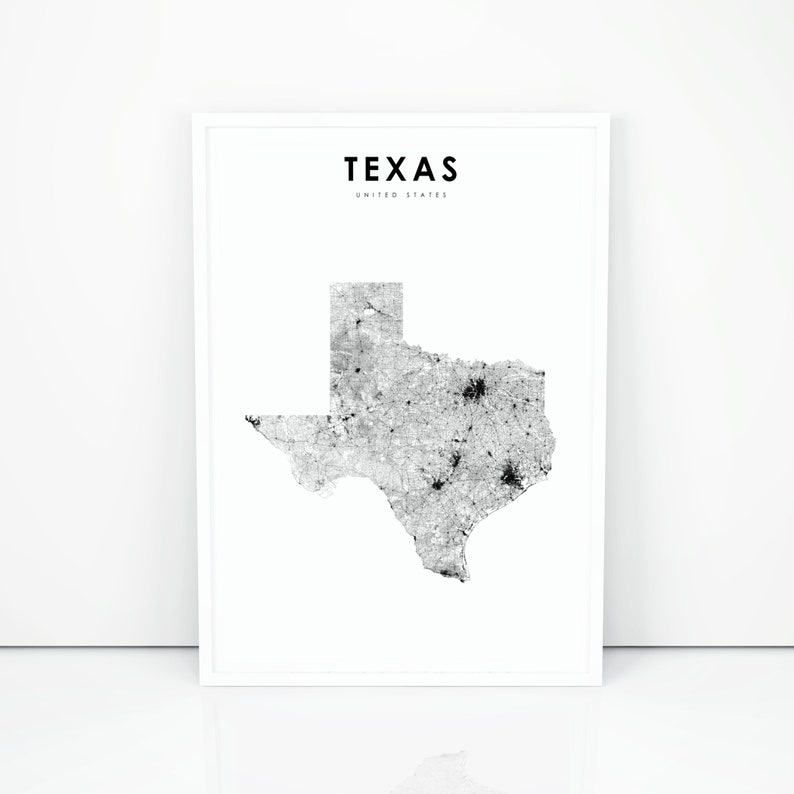 graphic about Printable Maps of Texas called Texas Map Print, Region Highway Map Print, TX United states of america United Claims Map Artwork Poster, Nursery Place Wall Place of work Decor, Printable Map