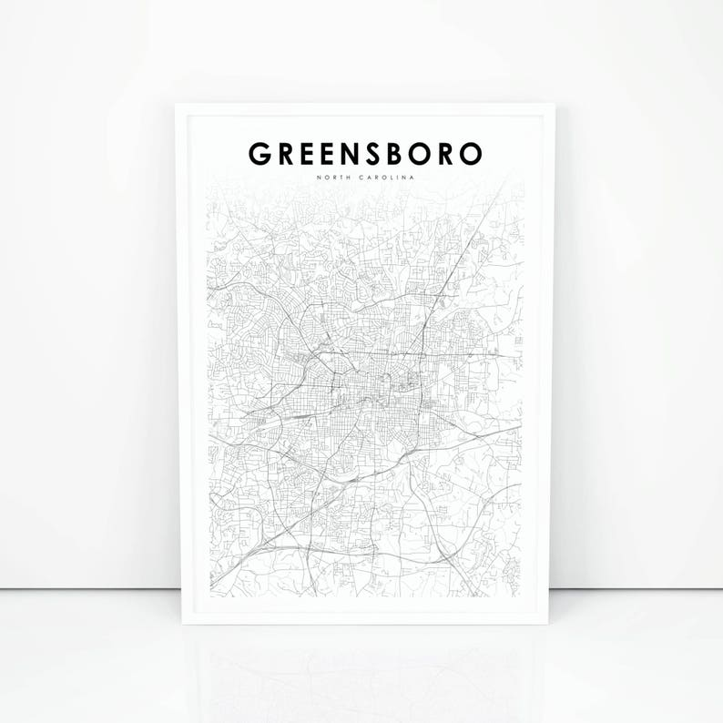 picture regarding Printable Map of North Carolina referred to as Greensboro Map Print, North Carolina NC United states of america Map Artwork Poster, Town Highway Street Map Print, Nursery House Wall Business office Decor, Printable Map