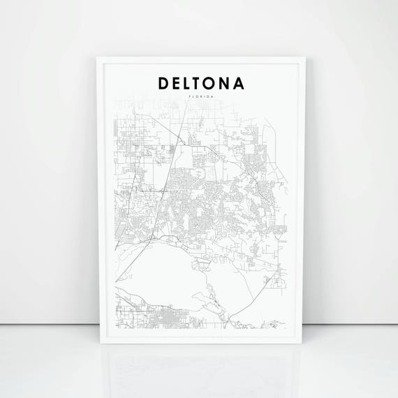 Deltona Map Print, Florida FL USA Map Art Poster, City Street Road Map  Print, Nursery Room Wall Office Decor, Printable Map
