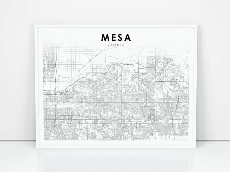 Mesa Map Print Arizona AZ USA Map Art Poster City Street | Etsy