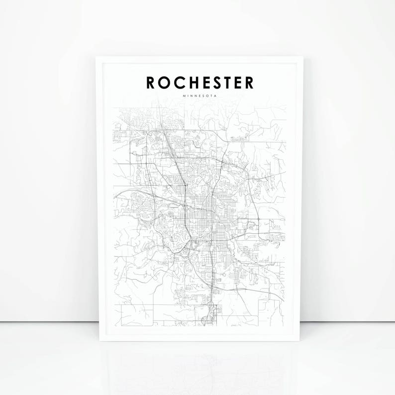 Rochester Map Print, Minnesota MN USA Map Art Poster, City Street Road Map  Print, Nursery Room Wall Office Decor, Printable Map
