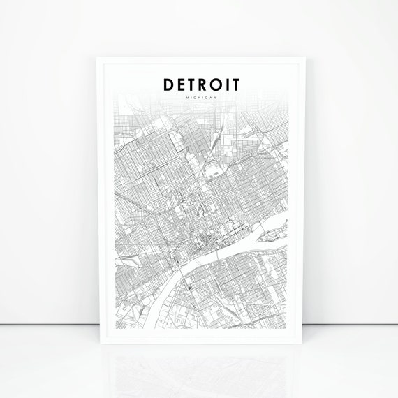 Detroit Map Print Michigan MI USA Map Art Poster City Street | Etsy