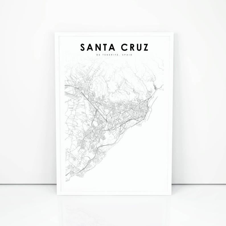 Map Of Spain Tenerife.Santa Cruz De Tenerife Map Print Spain Map Art Poster City Etsy