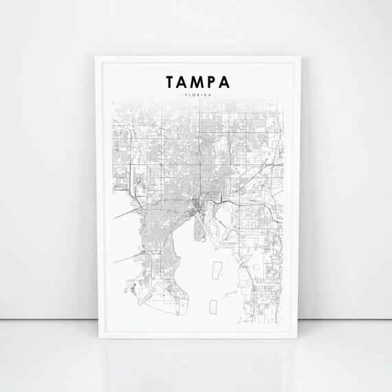 Tampa Florida Usa Map.Tampa Map Print Florida Fl Usa Map Art Poster City Street Etsy