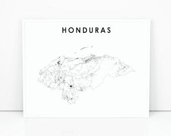 Honduras Map Print, Road Map Art Poster, Central America Caribbean Tegucigalpa Map Art, Nursery Room Wall Office Decor, Printable Map