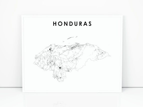 photograph relating to Printable Map of Central America titled Honduras Map Print, Street Map Artwork Poster, Central The us Caribbean Tegucigalpa Map Artwork, Nursery Area Wall Business Decor, Printable Map