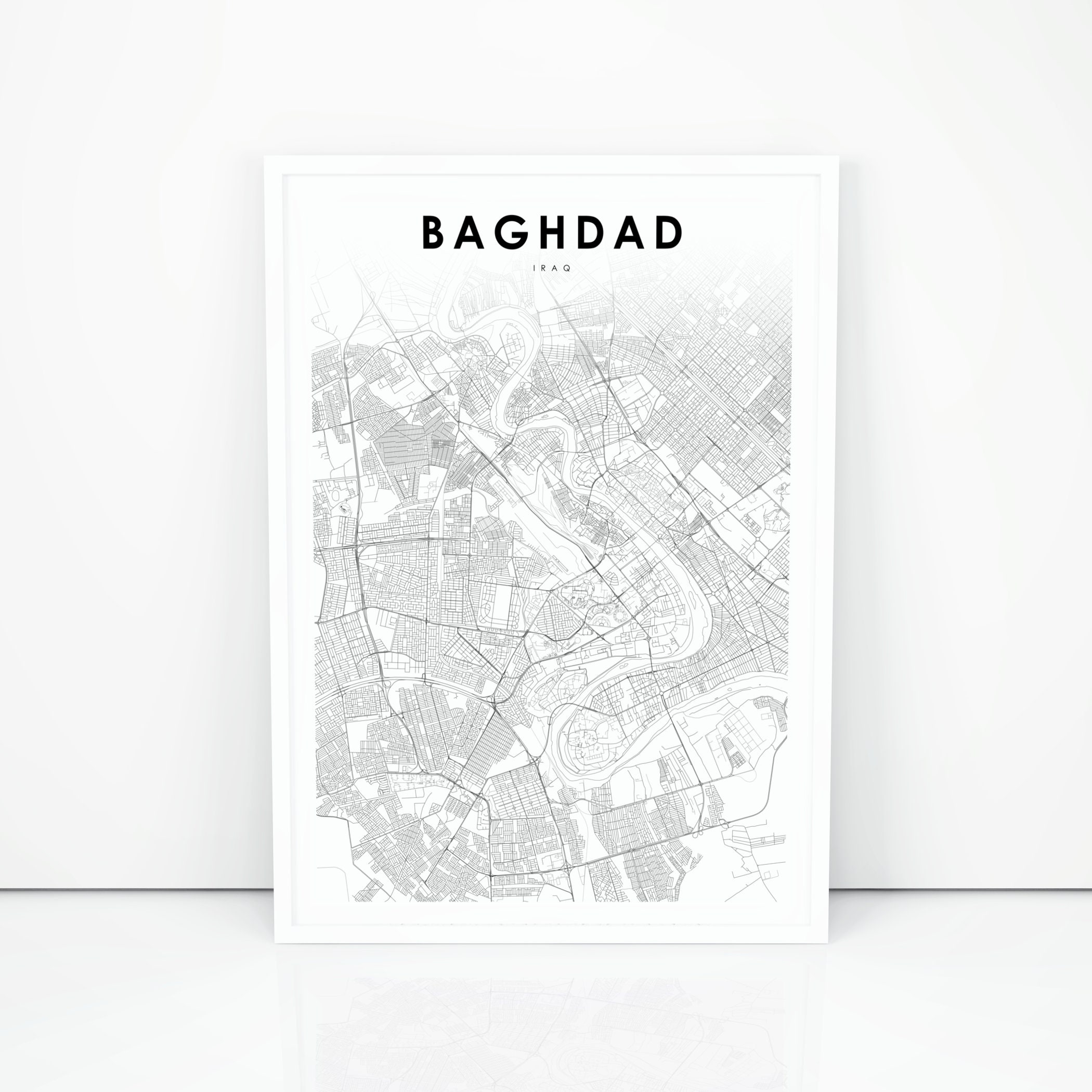 Baghdad Map Print, Iraq Map Art Poster, مدينة بغداد Bagdad, City Street  Road Map Print, Nursery Room Wall Office Decor, Printable Map