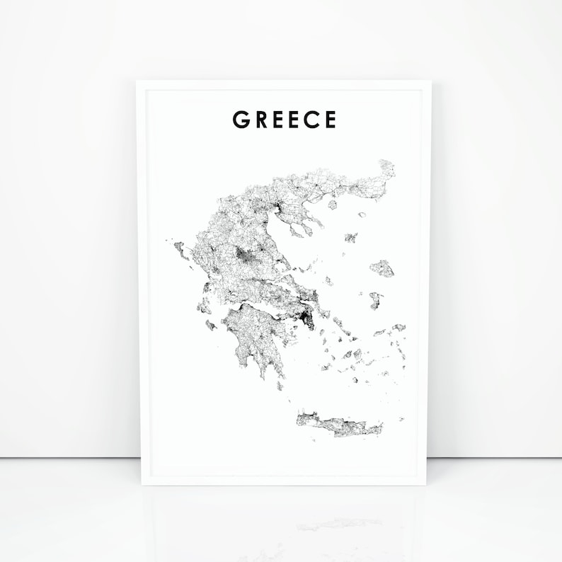 photo regarding Printable Map of Greece named Greece Map Print, Greece Highway Map Poster, Ελλάδα Greek Hellas Athens Map Artwork, Nursery Space Wall Workplace Decor, Printable Map