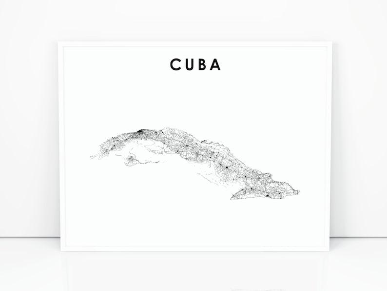 Cuba Map Print Road Map Art Poster Havana Caribbean Country   Etsy