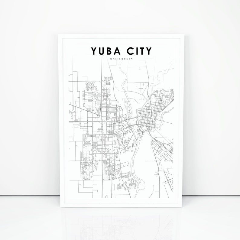 Map Of California Yuba City.Yuba City Map Print California Ca Usa Map Art Poster Marysville City Street Road Map Print Nursery Room Wall Office Decor Printable Map