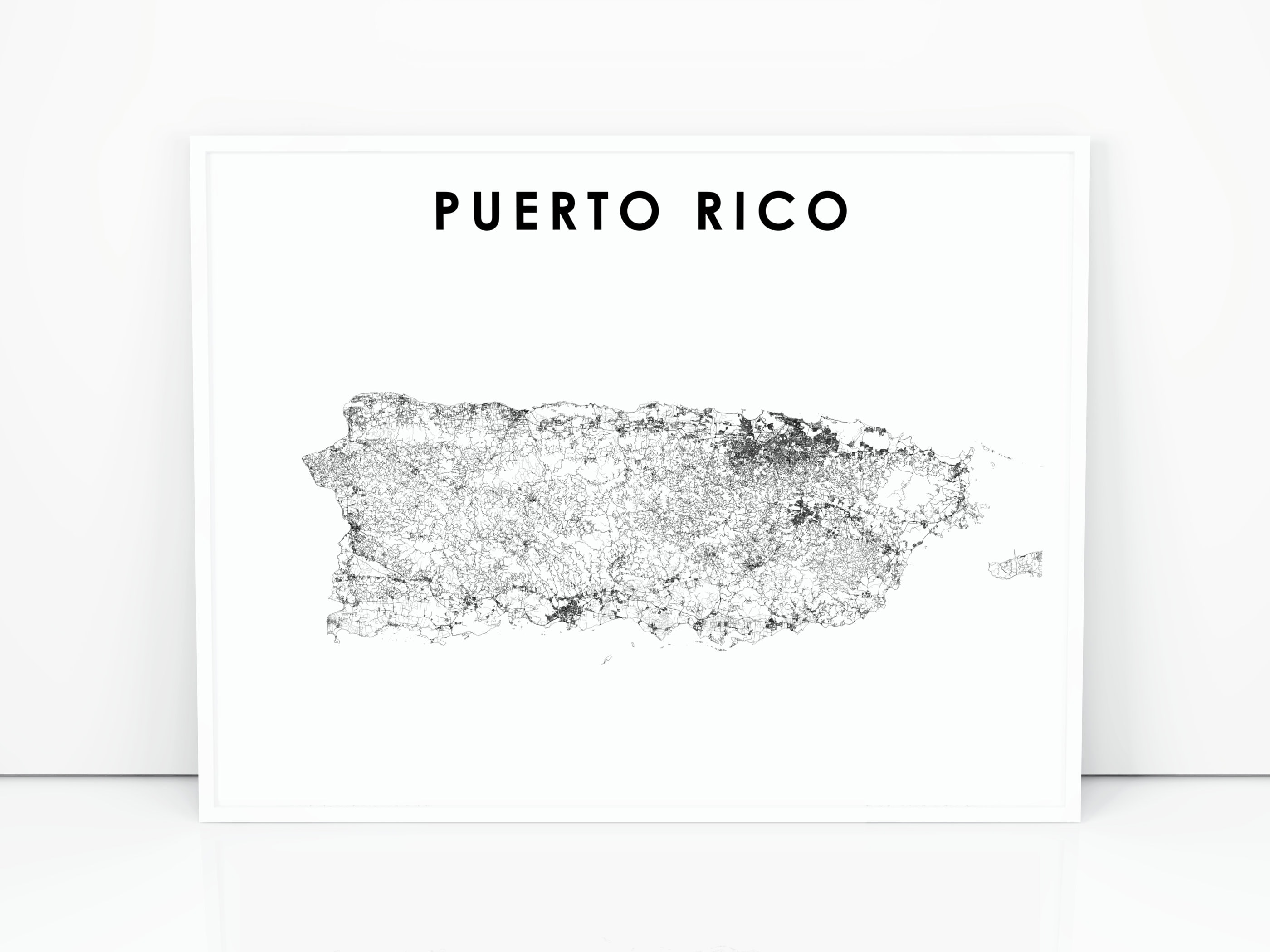 graphic regarding Printable Maps of Puerto Rico referred to as Puerto Rico Map Print, Street Map Poster, San Juan, Nation Map Artwork, Nursery Space Wall Business Decor, Printable Map