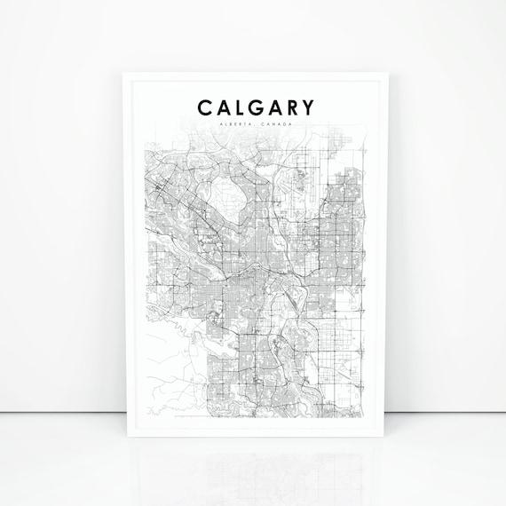 Calgary Map Print Alberta Ab Canada Map Art Poster City Etsy