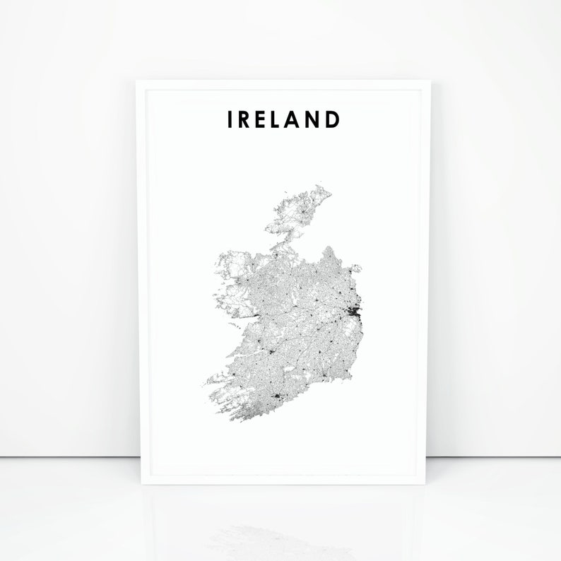 Map Of Ireland Please.Ireland Map Print Road Map Art Poster Eire Uk United Kingdom Great Britain Dublin Map Nursery Room Wall Office Decor Printable Map