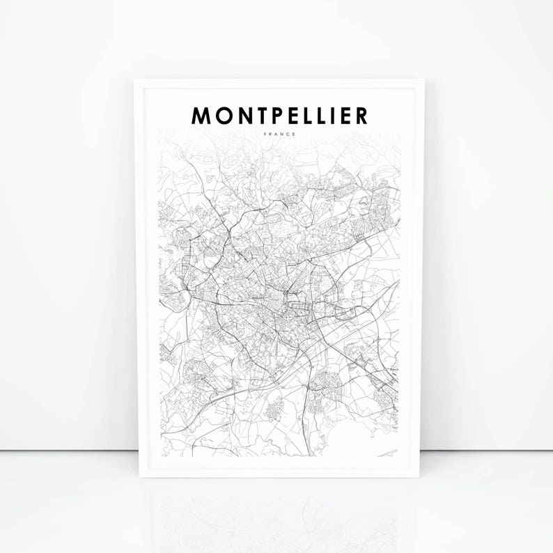 Montpellier Map Of France.Montpellier Map Print France Map Art Poster City Street Road Etsy