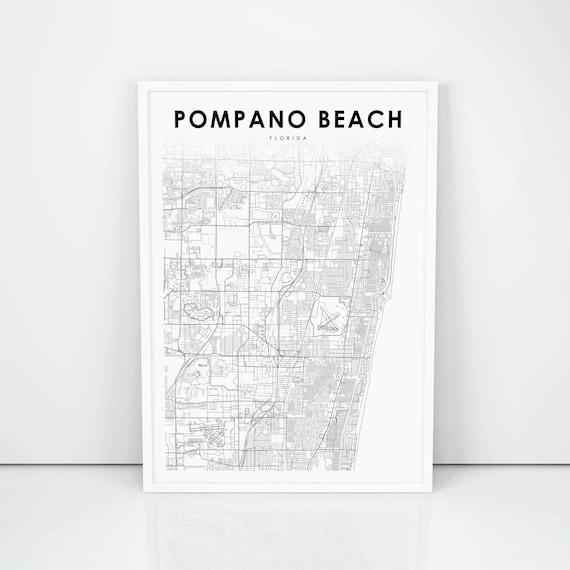 Pompano Beach Map Of Florida.Pompano Beach Map Print Florida Fl Usa Map Art Poster City Etsy